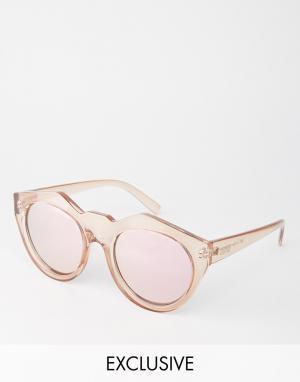 Le Specs Зеркальные солнцезащитные очки Exclusive Neo Noir. Цвет: розовый