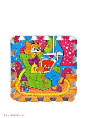 Коврик-пазл Играем Вместе напольный Леопольд. Цвет: оранжевый, зеленый, синий