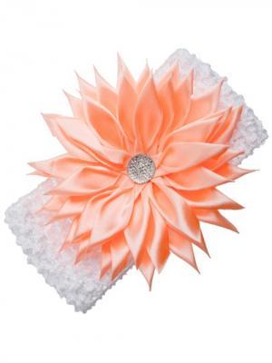 Повязка для волос Хризантема ширина 7см. City Flash. Цвет: белый, персиковый, серебристый