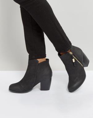 QUPID Полусапожки на каблуке с молнией сбоку. Цвет: черный