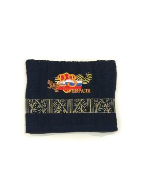 Полотенце в подарочной тубе 50х90, Поздравляю. La Pastel. Цвет: темно-синий, синий, оранжевый
