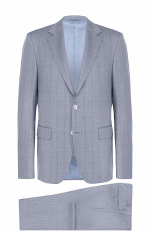 Шерстяной костюм с пиджаком на двух пуговицах Canali. Цвет: голубой