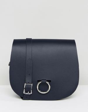 Leather Satchel Company Сумка с застежкой-кольцом. Цвет: темно-синий