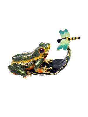Шкатулка Лягушка со стрекозой Yen Ten. Цвет: зеленый