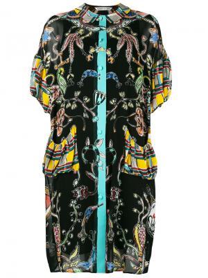 Платье шифт с комбинированным принтом Tsumori Chisato. Цвет: чёрный