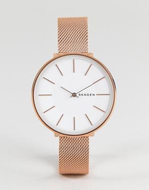 Skagen Розово-золотистые часы 38 мм с сетчатым браслетом SKW2688 Karol. Цвет: золотой