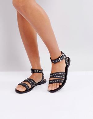 Sol Sana Черные кожаные сандалии с люверсами. Цвет: черный