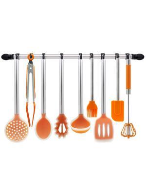 Набор кухонных силиконовых аксессуаров 10 пр. с держателем Borner. Цвет: оранжевый