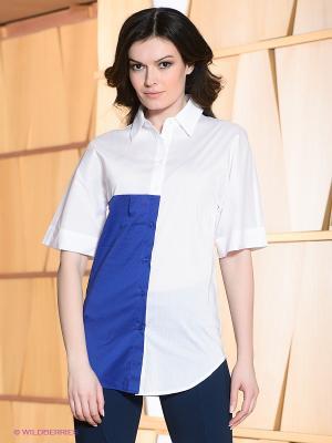 Блузка Allezye. Цвет: белый, синий