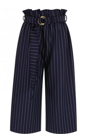 Укороченные брюки в полоску с поясом Mother Of Pearl. Цвет: темно-синий