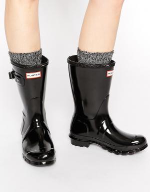 Hunter Черные блестящие резиновые сапоги Original. Цвет: черный