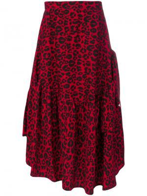 Асимметричная юбка с леопардовым принтом Barbara Bologna. Цвет: красный