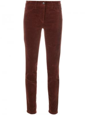 Бархатные брюки слим Luisa Cerano. Цвет: красный