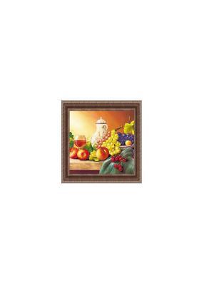 Натюрморт с виноградом В960 Картина в раме 25х25 PROFFI. Цвет: желтый, зеленый, красный