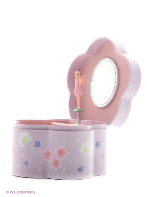 Музыкальная шкатулка с фигуркой в форме цветочка Jakos. Цвет: серо-голубой, розовый, белый, синий
