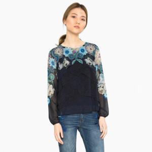 Блузка с круглым вырезом, цветочным рисунком и длинными рукавами DESIGUAL. Цвет: темно-синий