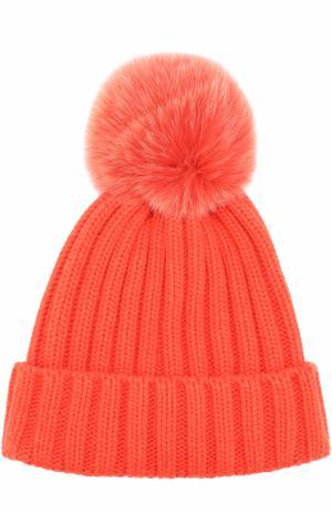 Вязаная шапка с меховым помпоном Nima. Цвет: оранжевый