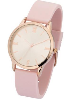 Часы на силиконовом браслете (нежно-розовый) bonprix. Цвет: нежно-розовый
