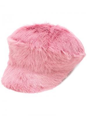Меховая кепка Prada. Цвет: розовый и фиолетовый