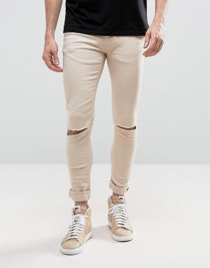 Criminal Damage Светло-бежевые обтягивающие джинсы с рваной отделкой. Цвет: светло-бежевый