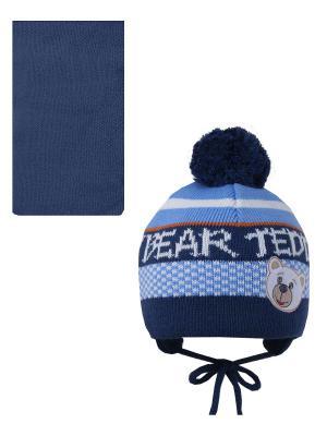 Шапка, шарф Pro-han. Цвет: синий, голубой, белый