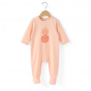 Пижама из хлопка с рисунком ананас 0 мес-3 лет R édition. Цвет: коралловый