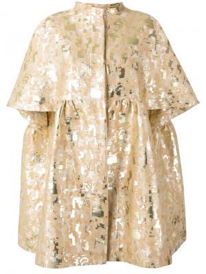 Парчовое пальто с вышивкой Gianluca Capannolo. Цвет: телесный