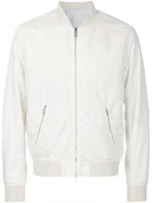 Куртка-бомбер  на молнии Hardy Amies. Цвет: белый