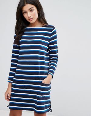 YMC Трикотажное платье в бретонскую полоску с длинными рукавами. Цвет: темно-синий