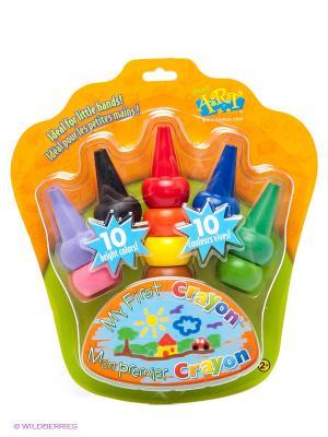 Карандаши восковые на пальчики BOJEUX. Цвет: черный, синий, зеленый, фиолетовый, красный, оранжевый, розовый