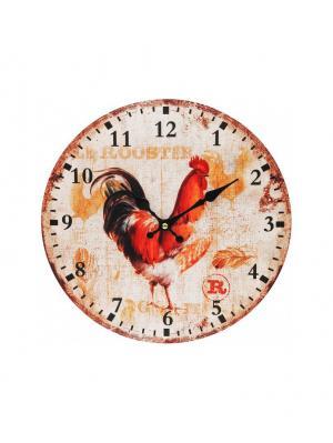 Часы настенные Петушок, диаметр 34 см (100-CL) Белоснежка. Цвет: кремовый, бежевый, бледно-розовый