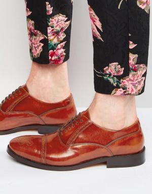 Base London Кожаные оксфордские туфли XXI Noel. Цвет: рыжий