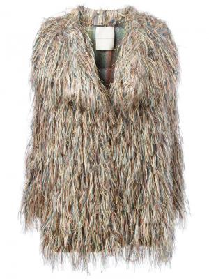 Fur effect midi coat Marco De Vincenzo. Цвет: многоцветный