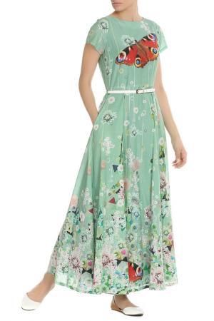 Длинное летнее платье с поясом NATALIA PICARIELLO. Цвет: зеленый