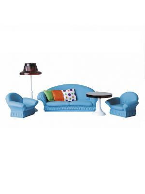 Набор мягкой мебели для гостиной Конфетти Огонек. Цвет: синий, оранжевый
