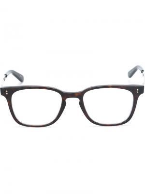 Оптические очки с квадратной оправой Masunaga. Цвет: коричневый