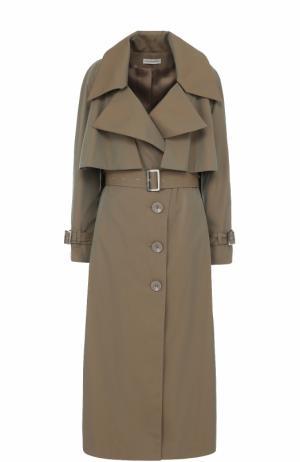 Однобортное пальто с поясом и кейпом Vika Gazinskaya. Цвет: хаки