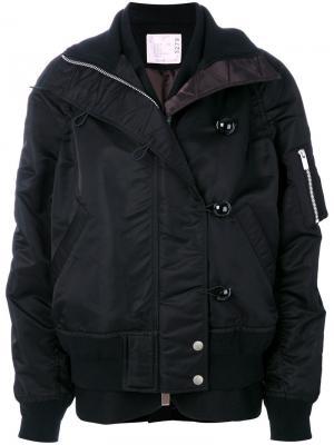 Куртка-бомбер из нейлона Sacai. Цвет: чёрный