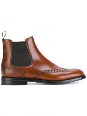 Ботинки челси с брогированием Churchs Church's. Цвет: коричневый