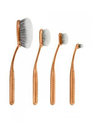 Набор кистей-щеток для макияжа MODA METALLICS FACE PERFECTING KIT (4 шт.) Royal&Langnickel. Цвет: золотистый