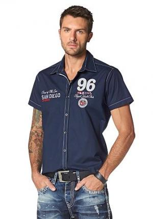 Рубашка с короткими рукавами CIPO & BAXX. Цвет: темно-синий