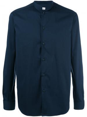 Рубашка с узким воротником-стойкой Paolo Pecora. Цвет: синий