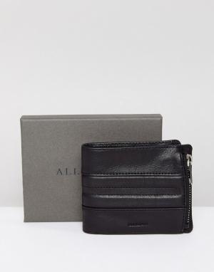AllSaints Кожаный бумажник с отделением на молнии Havoc. Цвет: черный