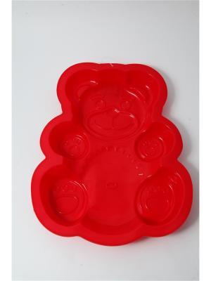 Форма силиконовая 30х23х3см, Медвежонок. Vetta. Цвет: красный