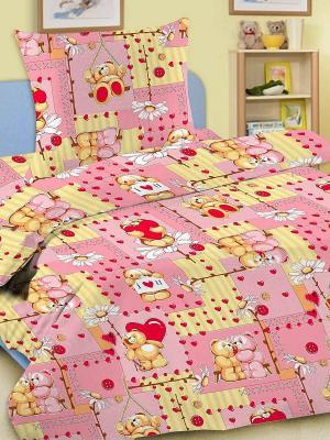 Комплект детский, 1,5-спальный, 100% хлопок Letto. Цвет: розовый