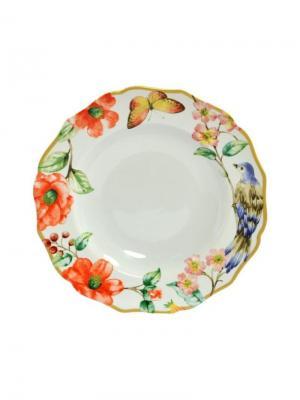 Тарелка глубокая, Дивная птица, d.23,5 см Elff Ceramics. Цвет: зеленый,оранжевый,белый