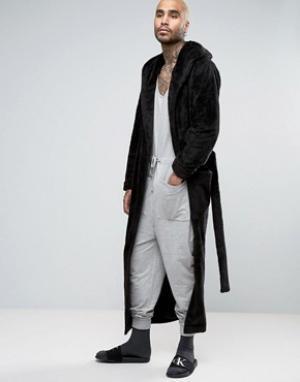 ASOS Длинный флисовый халат с шалевым воротником. Цвет: черный