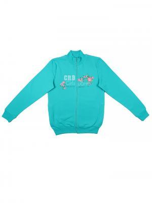 Трикотажная куртка для девочки Cherubino. Цвет: бирюзовый