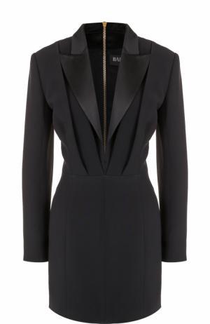 Приталенное мини-платье с глубоким V-образным вырезом Balmain. Цвет: черный