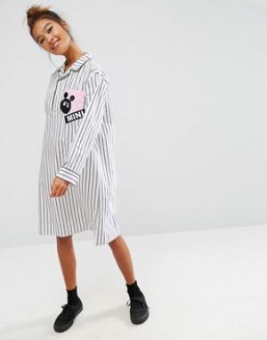 Mini Cream Платье-рубашка в полоску пижамном стиле. Цвет: мульти